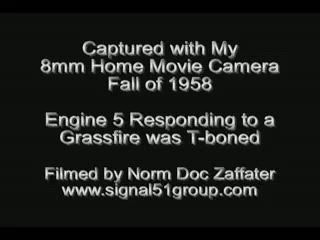 Engine 5 Was T-boned - Aftermath in this 1958 8mm Home Movie