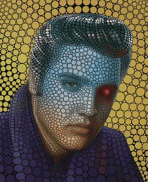 New 3D version of my circle portrait of Elvis Presley, soon available as physical 3D prints!