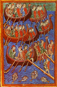A Norse seagoing warship from the 11th century Bayeux tapestry - depicting the NORMAN INVASION OF GB