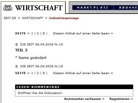 Eine Seite 3 bei Zeit.de