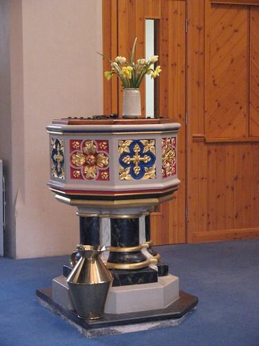 Y fedyddfaen, Eglwys S. Mair, Aberystwyth