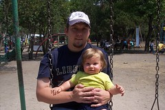 Daddy and Nathan on the swings at Chapultepec