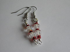 Earrings: Red and Clear