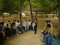 Roopa addressing the visitors at the camp.