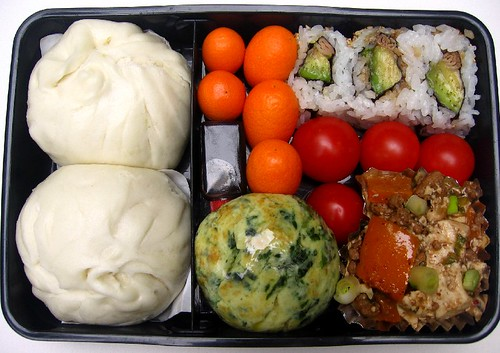 Ma po tofu & spinach egg ball lunch お弁当