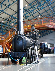 An Agenoria engine built in 1829 on display at the National Railway Museum in York