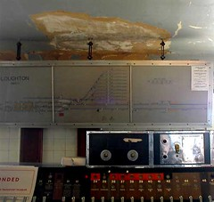 Indicator panel in the disused signal cabin at Loughton Station