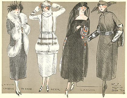 Fernand Simeon, La Gazette du Bon Ton magazine, La Mode pour l'Automne, Lanvin, 1920