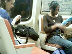 Crocheting on Metro