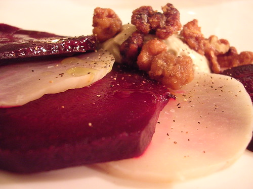 Turnip and Beet Carpaccio with Gorgonzola and Carmelized Walnuts