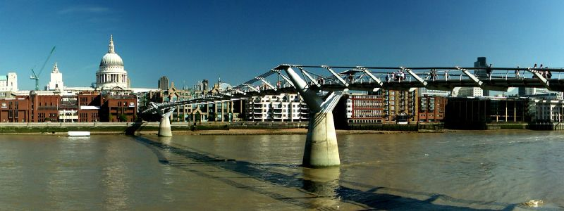 Millenium Bridge, view from Tate Modern with St. Paul's Cathedral in the background.