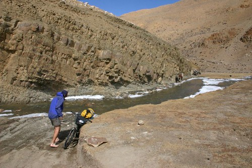 Rich crossing the icy cold river near the Friendship Hgw, Tibet.