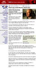 BBC News: Markus Wolf dies