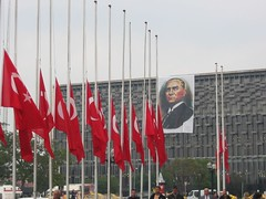 4338f Ataturk flags and banner at Taksim