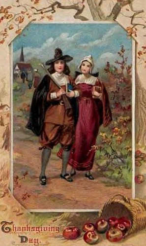 Thanksgiving Postcard 1912ish Pilgrims