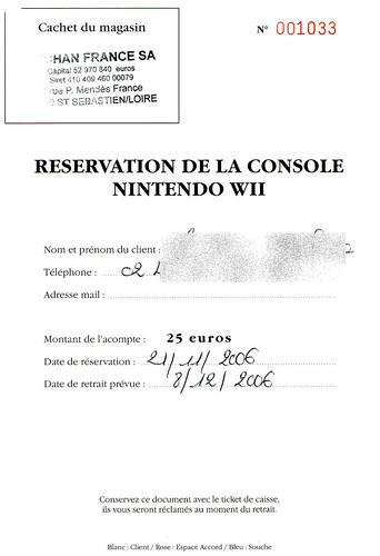 réservation wii