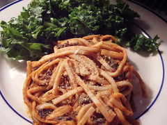 Spicy tomato almond and kale pasta