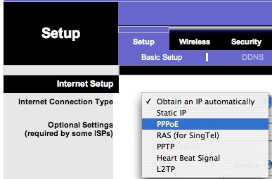 Selecting PPPoE on Linksys Router