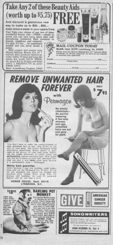 Vintage Ad #103 - Darling Pet Monkeys Remove Unwanted Hair Forever