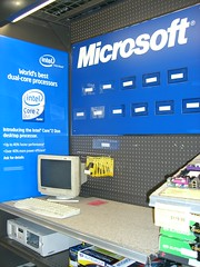 Microsoft branded sales booth in 'frys' store,  Kent, WA