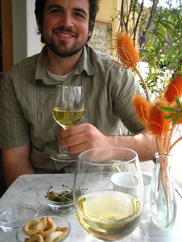 Husbear at Rosso wine bar, Corniglia
