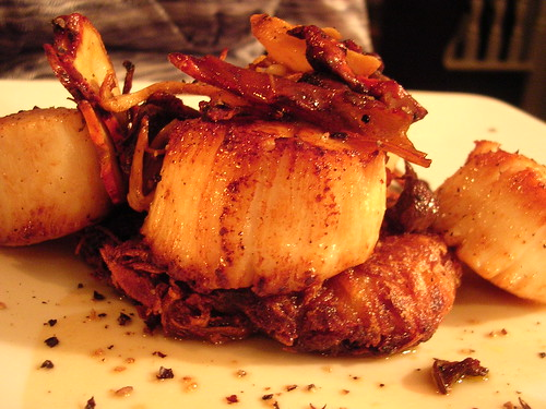 Seared Day-Boat Scallops, Potato Rosti, Wild Mushroom Ragout