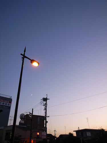 Twilight, streetlight, crescent moon