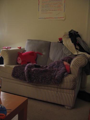 My cozy, homey knitting corner.