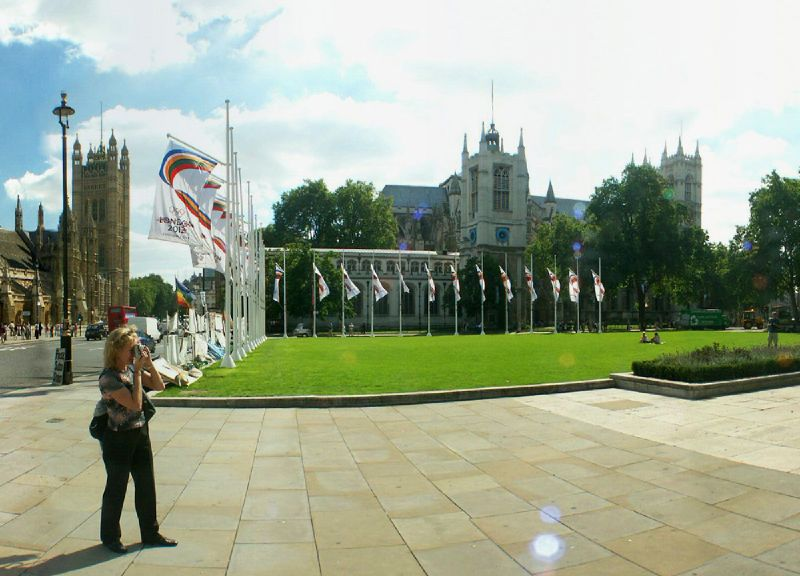 Parliament Square with 2012 Olympic flags and Brian Haw anti war protest