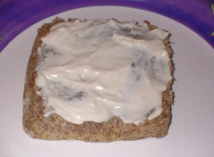 flax bread with cream cheese 'frosting'