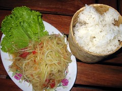 Green papaya salad and sticky rice - Manychan Restaurant - Luang Namtha