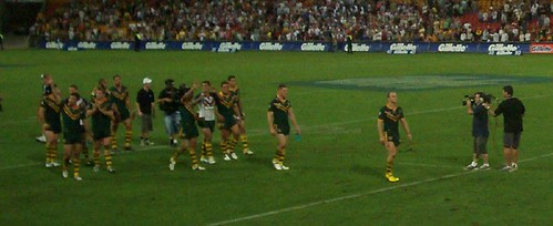 Kangaroo captain Darren Lockyer leads his team on a victory lap to acknowledge the crowd  - Kangaroos v British Lions Rugby League Test Match - Lang Park (Suncorp Stadium), Brisbane, Australia, November 18th 2006