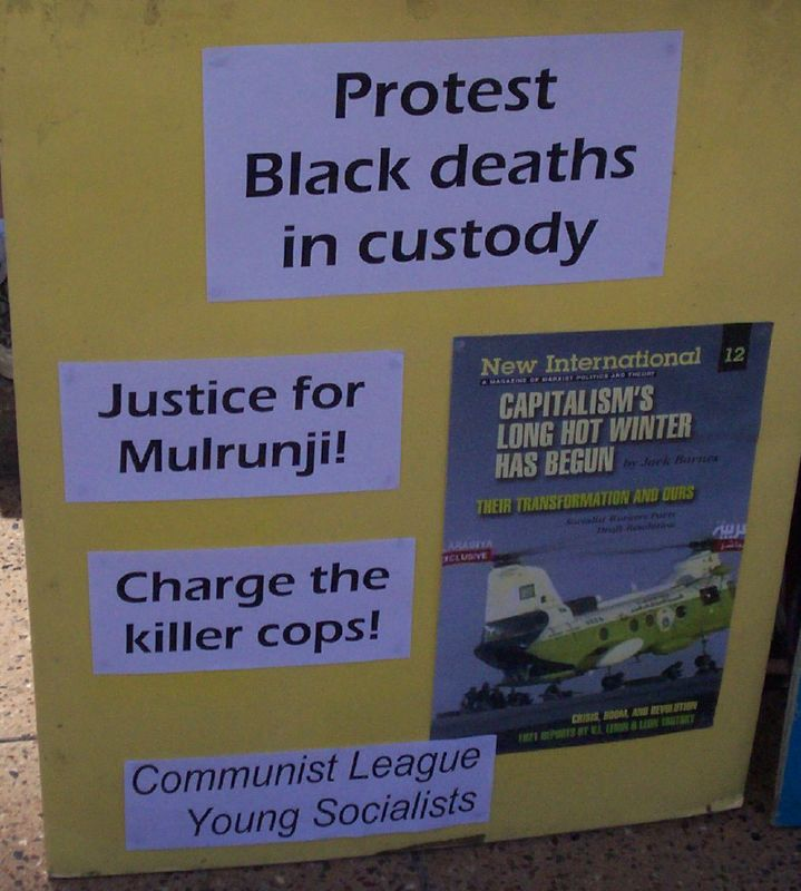 The Communist League, sellers of 'Militant' - Justice for Mulrunji Rally at Queens Park and March through Brisbane City, Australia, November 18 2006