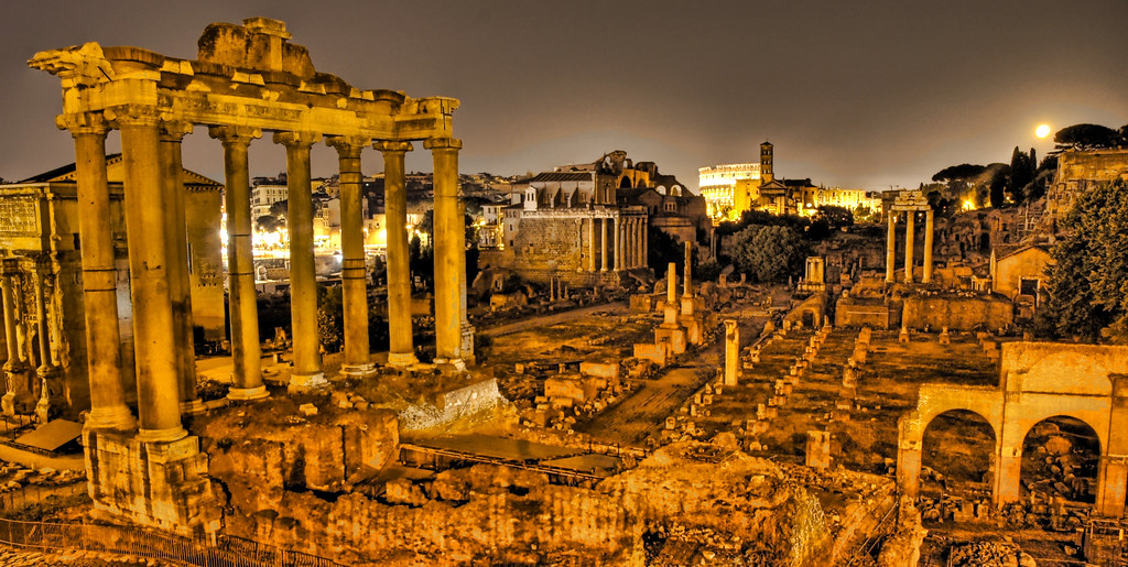 The Ancient Roman Forum at Midnight
