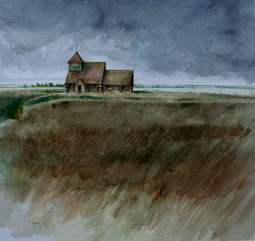 St Thomas a Becket  Church  Romney Marsh (Watercolour)