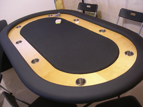 Table with Custom Whisper Vinyl Rails Poker Table Builder