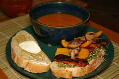 Sesame tempeh sandwich, with butternut squash soup