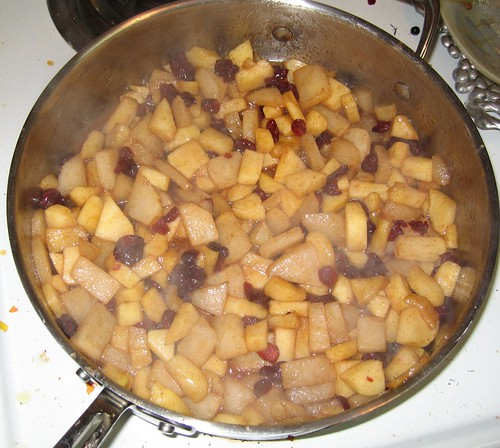 pear, apple and cranberry topping for pancakes