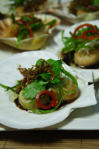 Pan-fried scallops with gingered oyster and soy sauce