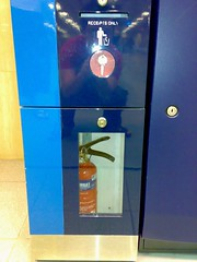 In case of emergency, break glass, take key, unlock glass cabinet, take out extinguisher, and hey, where da fire go?