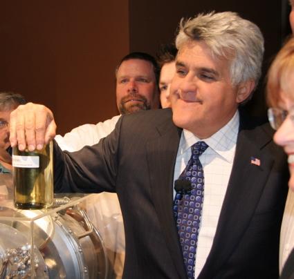 Jay poses with jar of biodiesel