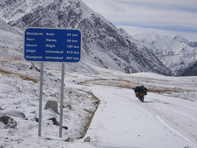 The road at the Chinese/Pakistani border at the Kunjerab Pass on the Karakoram Highway