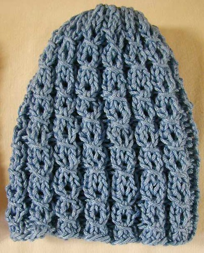blue mock cable baby hat