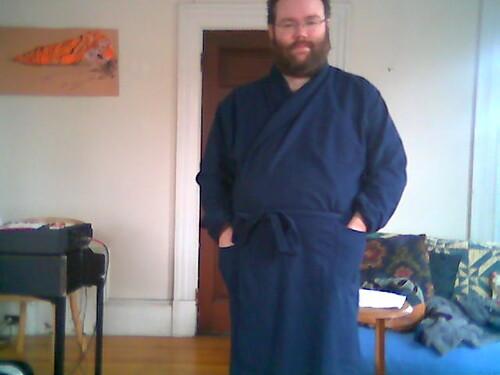 Jake in a bathrobe