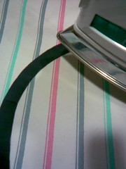ironing grosgrain ribbon into circle