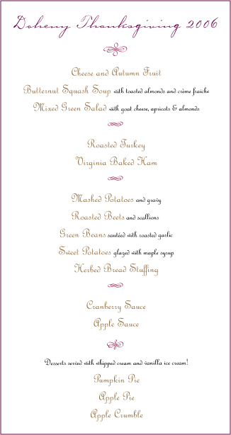 Doheny Thanksgiving Menu