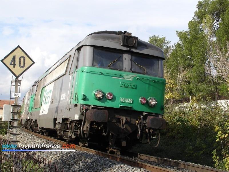 La BB67539 près de la gare SNCF d'Aix-en-Provence