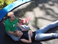 Erica and Fuzzy on Trampoline