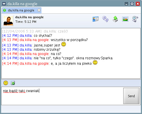 Spark IM client - chat window