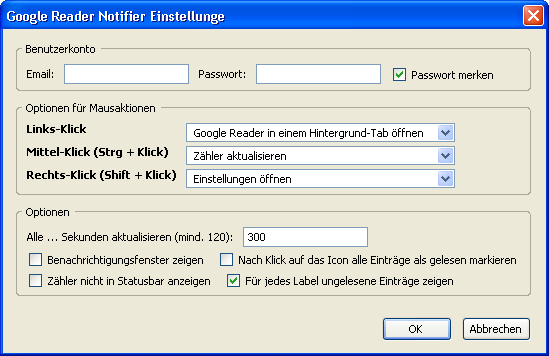 Google Reader Notifier Einstellungen